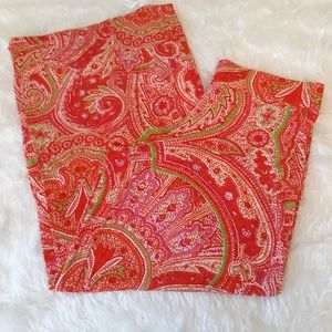 Ralph Lauren tropical paisley palazzo pants medium